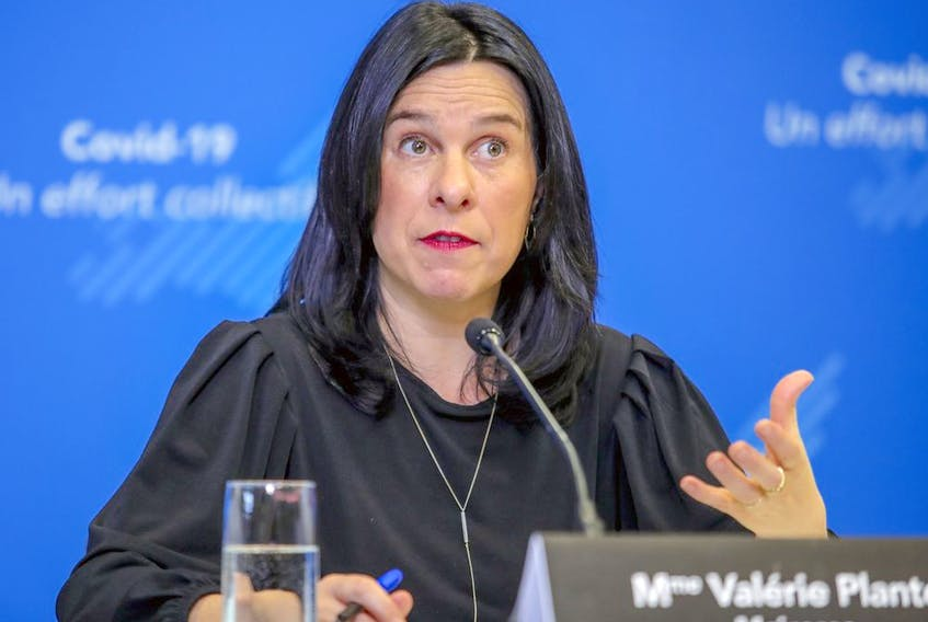 Olivier Lacelle, a language activist and former aide to past Bloc Québécois leader Mario Beaulieu, asked Montreal Mayor Valérie Plante, seen in a file photo, if she would create a Conseil de la langue française for Montreal.