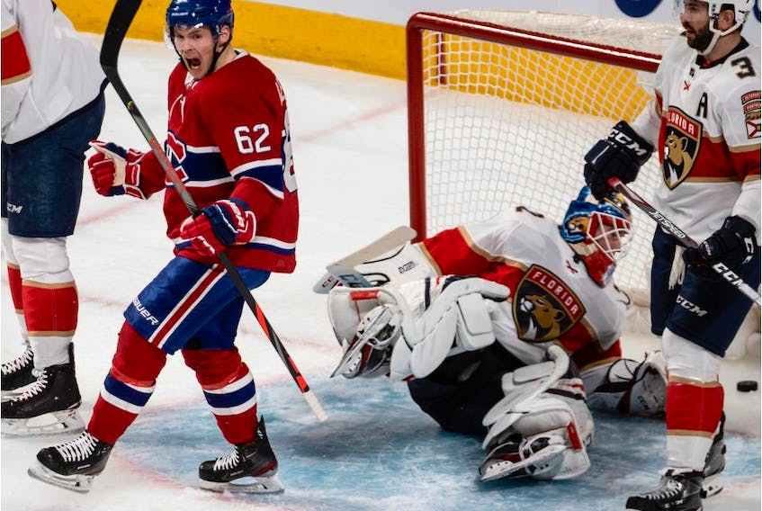 Canadiens' Artturi Lehkonen (62) after scoring against Florida Panthers goaltender Sergei Bobrovsky at the Bell Centre in Montreal on Saturday, Feb. 1, 2020.