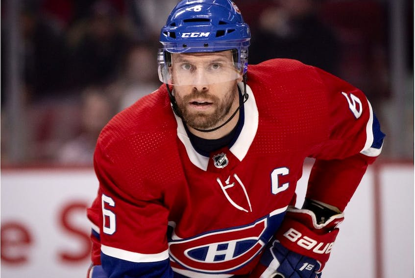 Canadiens captain  Shea Weber gets ready for face-off during NHL game against the Detroit Red Wings at the Bell Centre in Montreal on Dec. 14, 2019.
