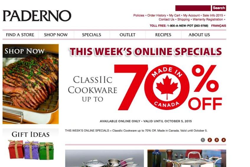 Screenshot of the Paderno website