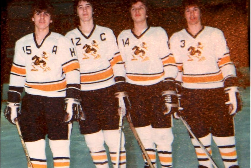 Mario Lemieux, second from left, with Ville-Emard Hurricanes teammates, from left, J.J. Daigneault, Marc Bergevin and Robert Bourdeau during the late 1970s. Marie-France Coallier/Montreal Gazette