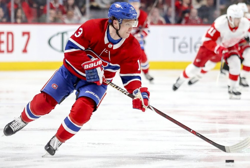 Montreal Canadiens' Max Domi carries the puck up ice during third period against the Detroit Red Wings in Montreal on March 12, 2019.