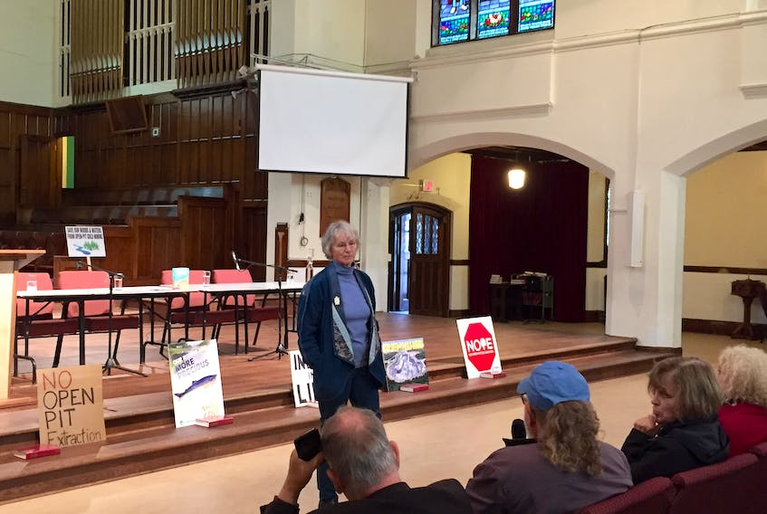 Joan Kuyek, author of Unearthing Justice: How to Protect your Community from the Mining Industry, answers questions Saturday during a book launch at St. Andrew's United Church in Halifax. Tim Arsenault - The Chronicle Herald