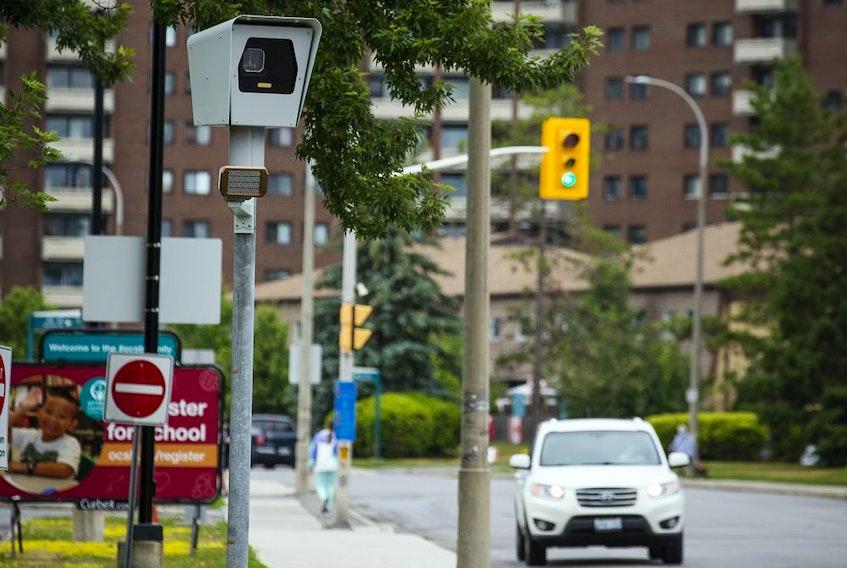 Photo radar and signage set up along Bayshore Drive, July 12, 2020.