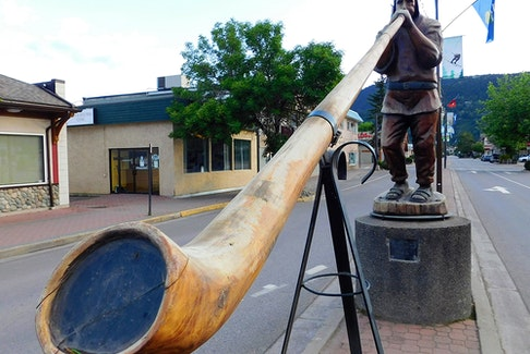 The Alpen Man statue is a downtown Smithers landmark.