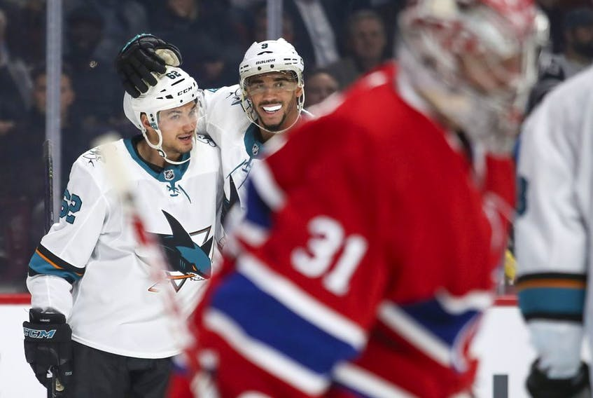 Canadiens defenceman Cale Fleury follows the play during NHL game against the San Jose Sharks at the Bell Centre in Montreal on Oct. 24, 2019.