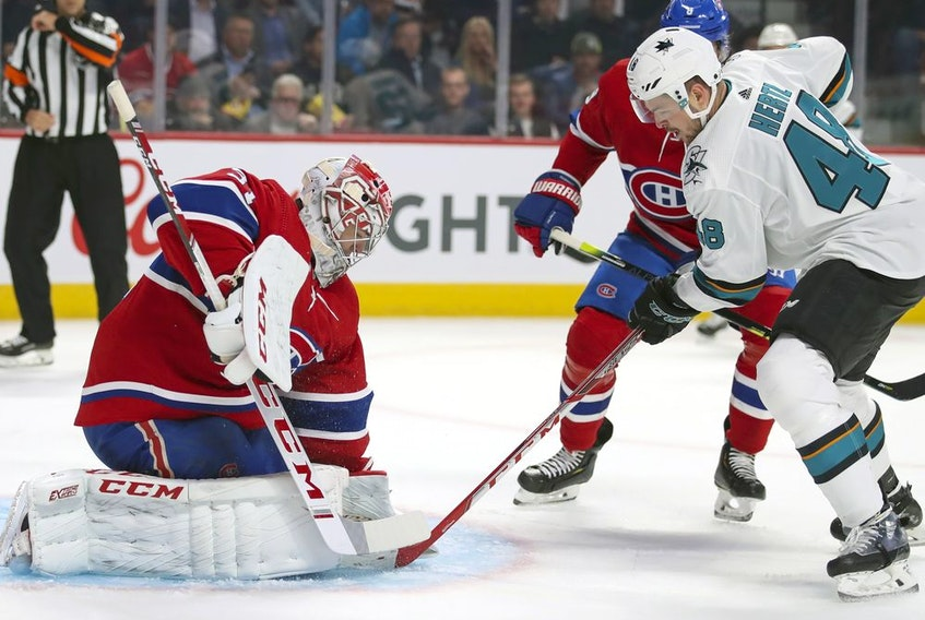 Montreal Canadiens defenceman Cale Fleury follows the play during game against the San Jose Sharks in Montreal on Oct. 24, 2019.