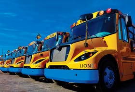 A Facebook image of electric schoolbuses, manufactured by Lion Electric.