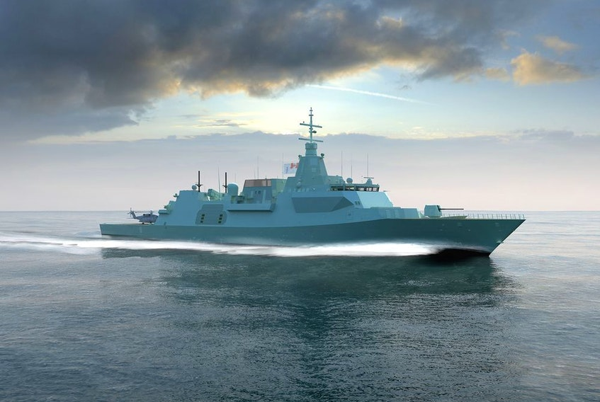 An artist's rendering of the Type 26 Global Combat Ship, Lockheed Martin's proposed design for Canada's $60-billion fleet of new surface combatant warships.