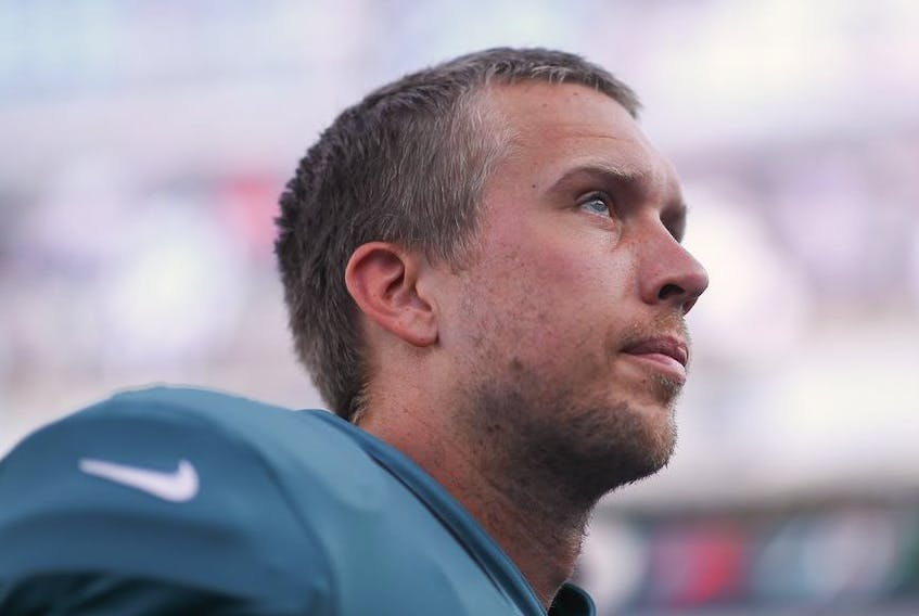 Nick Foles of the Jacksonville Jaguars looks on during a preseason game against the Atlanta Falcons at TIAA Bank Field on August 29, 2019 in Jacksonville, Florida.