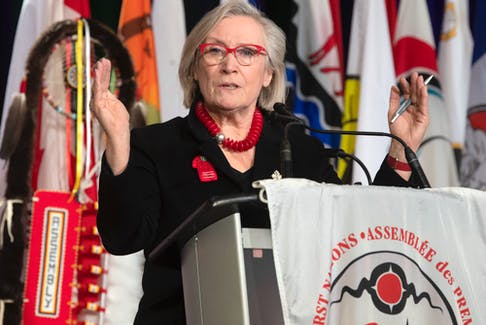 Crown-Indigenous Relations Minister Carolyn Bennett speaks to the AFN Special Chiefs Assembly in Ottawa, Wednesday December 4, 2019.