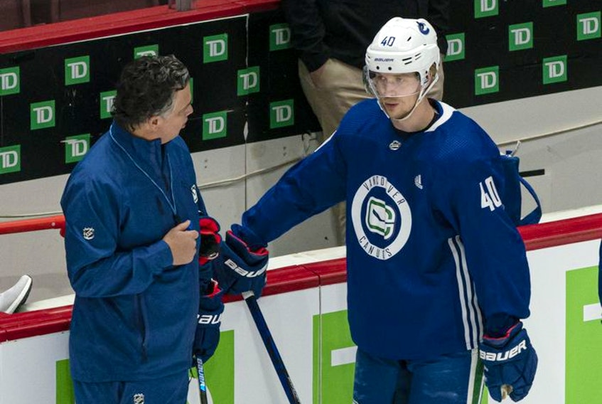 Travis Green knows frustrated centre Elias Pettersson is still finding his way in tough NHL games.