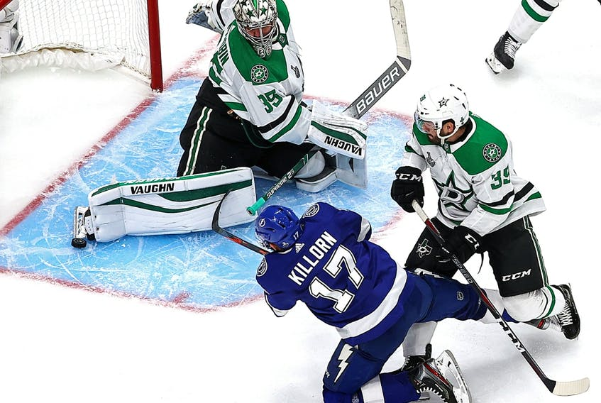 Anton Khudobin (35) of the Dallas Stars stops a shot by Alex Killorn (17) of the Tampa Bay Lightning in Game 1 of the 2020 NHL Stanley Cup Final at Rogers Place on Sept. 19, 2020.
