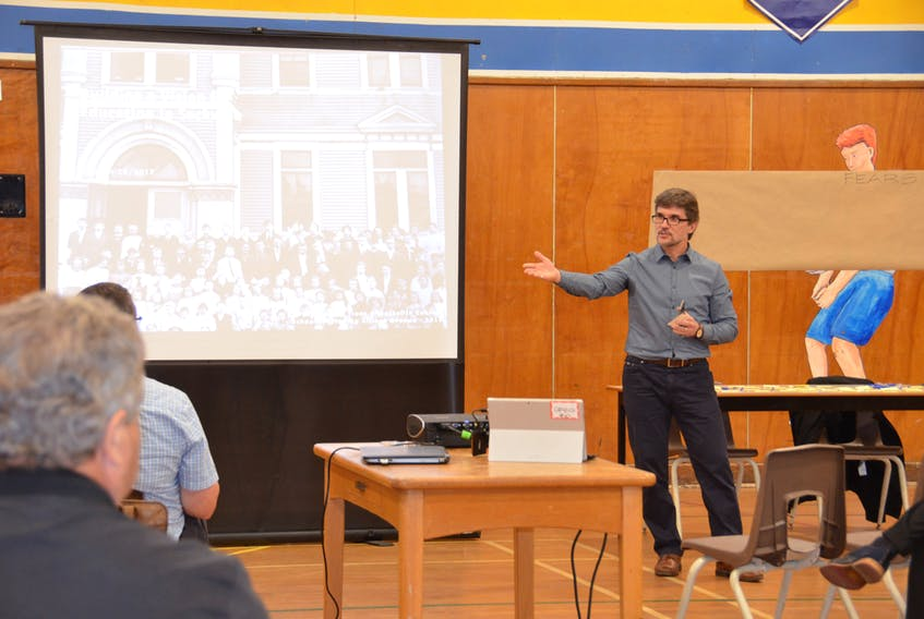 Designer/architect Greg Hasiuk speaks to those in attendance at a November 2017 community visioning session, which was hosted by the Sackville Schools 2020 committee.