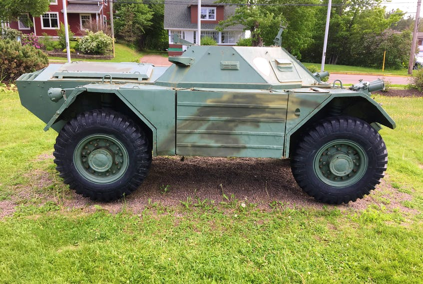 Town of Sackville staff were quick to paint over graffiti that was recently painted on the scout car in Sackville's Memorial Park.