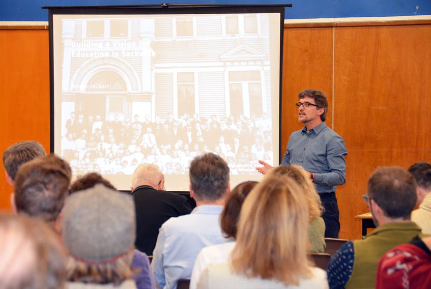 Designer/architect Greg Hasiuk speaks to those in attendance at Sunday's community visioning session, which was hosted by the Sackville Schools 2020 committee. KATIE TOWER – SACKVILLE TRIBUNE-POST