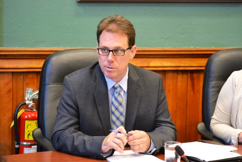 <p>Opposition MLA James Aylward addresses members of the health and wellness committee on Aug. 16, 2016 in Charlottetown.</p>
