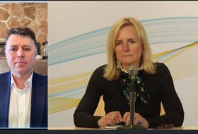 A Screengrab of a media briefing with P.E.I. Premier Dennis King and Chief Public Health Officer Heather Morrison held on March 18, 2020.