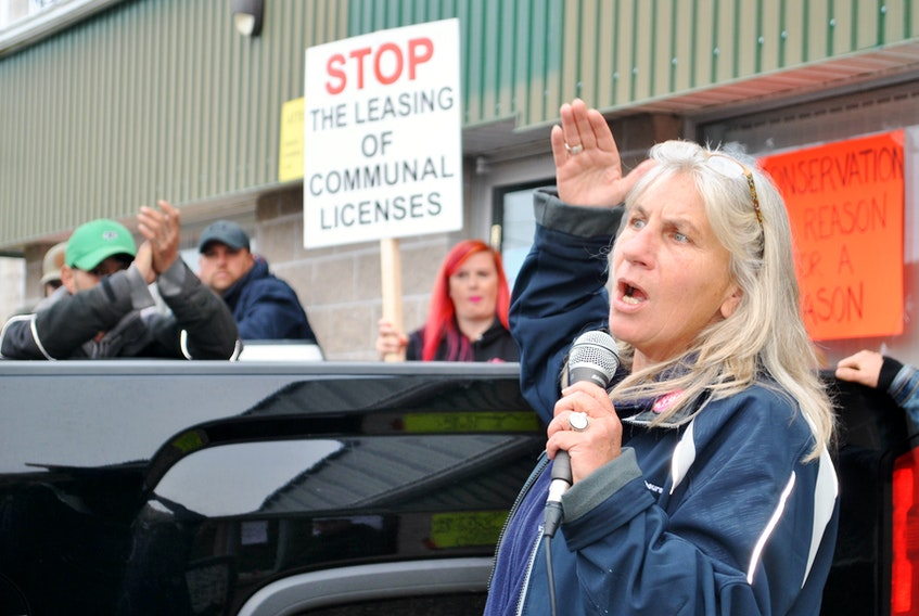 Ruth Inniss, Nova Scotia coordinator for the Maritime Fishermen's Union (MFU), addresses the crowd at a rally in Barrington Passage on Monday morning.