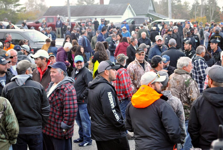 Hundreds of people attended the rally in Barrington Passage on Oct. 19 to once again call on the federal Fisheries Minister to take action to resolve the ongoing dispute between the commercial industry and Sipekne'katik First Nation, and for the commercial industry to be at the discussion table.