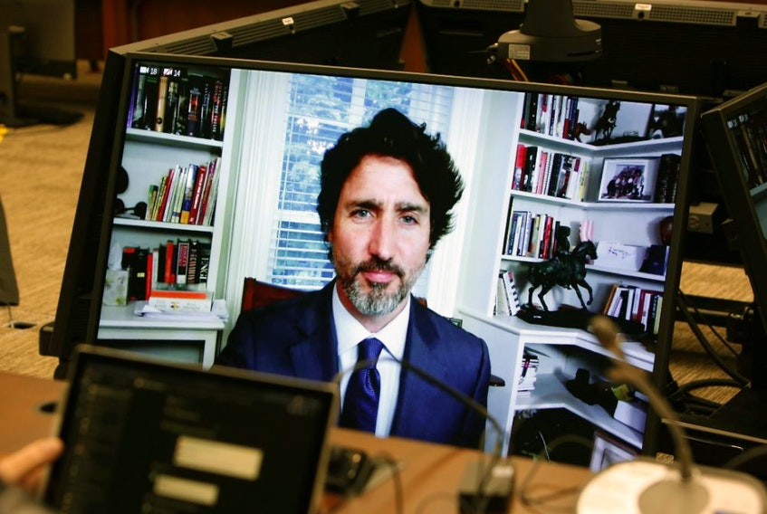 Justin Trudeau, Canada's prime minister, speaks by video conference before the House of Commons standing committee in Ottawa, Ontario, Canada, on Thursday, July 30, 2020.