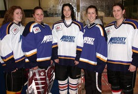 Five Cape Breton hockey players represented Nova Scotia at the 2006 Esso Women's National Hockey Championship at Centre 200 in Sydney. From left, Katie MacLeod (Inverness), Krista MacInnis (Port Hood), Jessica Wong (Baddeck), Alyssa Clarke (Donkin) and Garlene Somerton (Glace Bay). This week marks the 15th anniversary of the tournament in Cape Breton. TJ COLELLO • CAPE BRETON POST