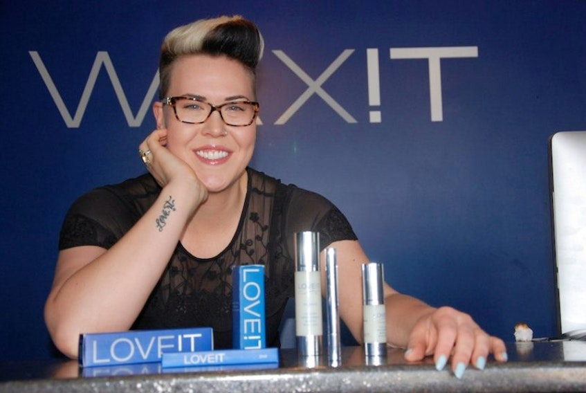 Nicole Mead, owner and operator of WAX!T in Charlottetown, shows one of her products that she will be handing out to the stars at the Celebrity Connected gifting suite in Hollywood the day before next month's Oscars.