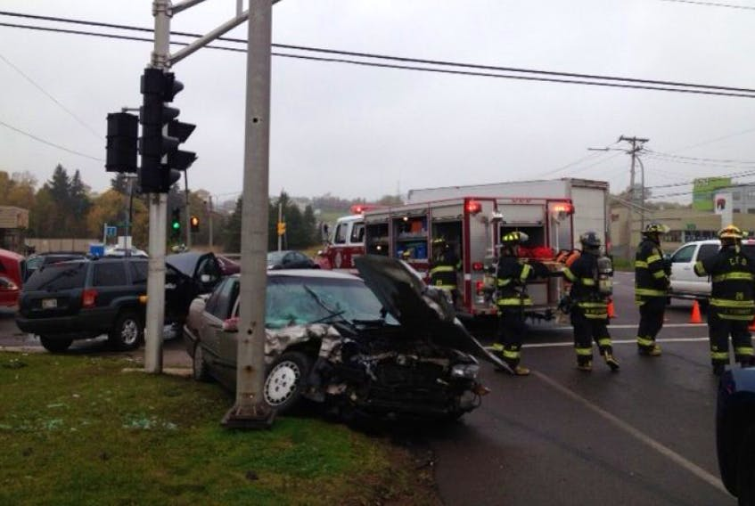 Emergency crews deal with a two-vehicle accident on North River Road at Capital Drive in Charlottetown Thursday morning.