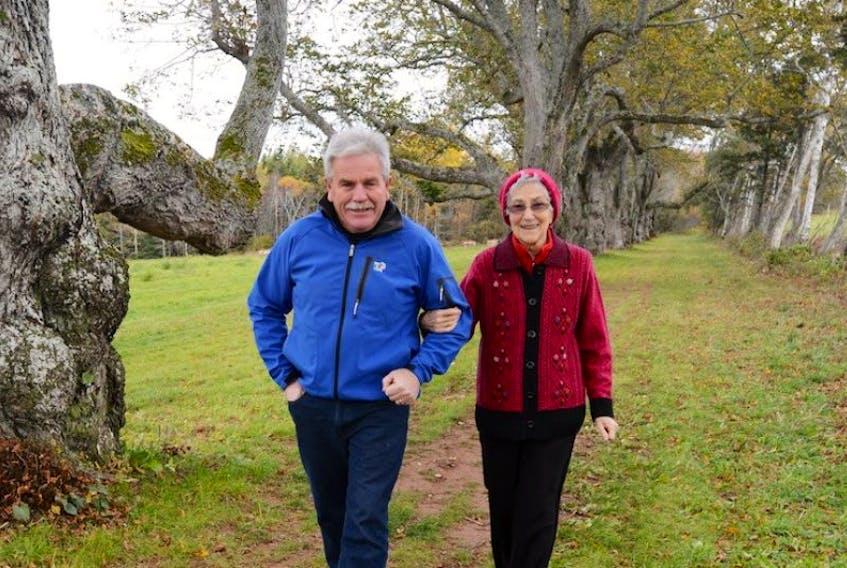 Glen Kelly, left, and Velma Carmody MacDonald walk the two kilometre trail built along the old Haythorne Roadway in Marshfield to honour Robert Poore Haythorne