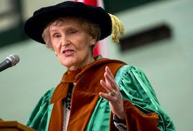 Former Island premier and senator, Catherine Callbeck, gives the convocation address at UPEI in 2015.