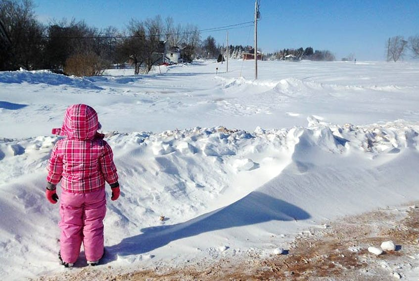 Little Abigail Ross gives some scale to the amount of anow that fell during the storm.