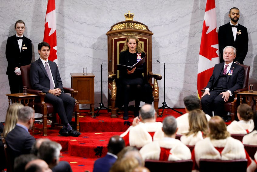 Canada's Governor General Julie Payette delivers the Throne Speech next to Prime Minister Justin Trudeau and Government Representative in the Senate Peter Harder, in the Senate, as parliament prepares to resume for the first time after the election in Ottawa, Ontario, Canada December 5, 2019. REUTERS/Blair Gable