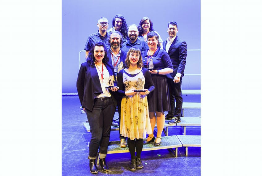 On hand to accept the award for best production at the 2019 provincial drama festival were Off-Broadway Players, from left, (front) Amy Andrews, Kate Sanders, (second row) Stephen Perchard, Joanne Martin, (third row) Lee Clarke, Mike Payne, Troy Turner, (back) Isabel Lacombe and Erin Summers.