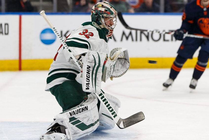 Minnesota Wild goaltender Alex Stalock faces the Edmonton Oilers at Rogers Place in Edmonton, on Friday, Feb. 21, 2020.