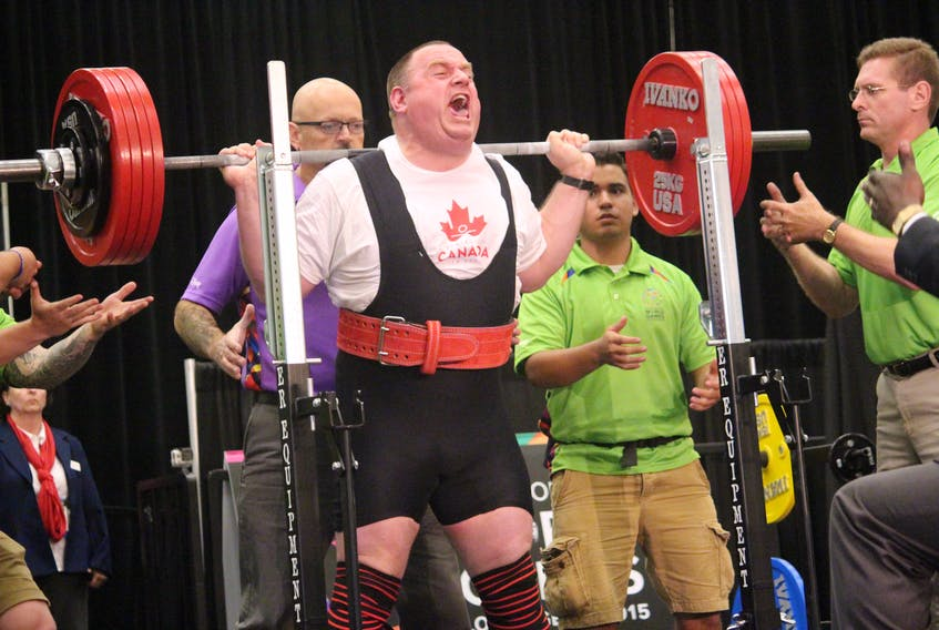 Jackie Barrett is shown competing at the 2015 Special Olympics World Summer Games in Los Angeles. It was his last event before retiring, and Barrett made it a memorable one, setting three world records and adding to his store of gold medals — he won 13 overall in four different World Summer Games. — Special Olympics Canada