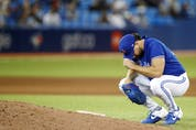 Robbie Ray of the Blue Jays takes a moment between pitches in the sixth inning against the Yankees at Rogers Centre on Thursday, Sept. 30, 2021 in Toronto.