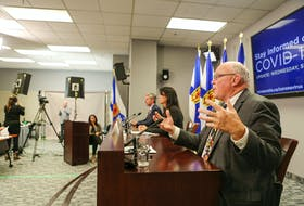 Nova Scotia Premier Tim Houston, Minister of Health and Wellness Michelle Thompson and Chief Medical Officer of Health Dr. Robert Strang at a COVID briefing on Sept. 29.