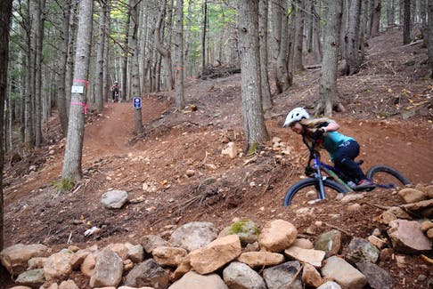 One of the switchbacks at the Wentworth Mountain Bike Trails.
