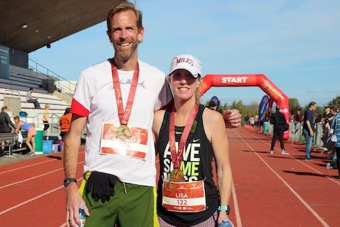 David Holder and Lisa Holmes won the Valley Harvest Marathon Oct. 10 in Wolfville.