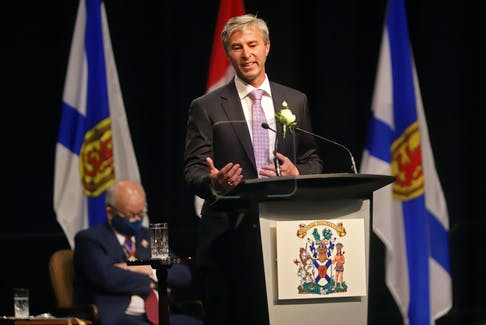 File - Tim Houston gives his first remarks as the Premier of Nova Scotia, following the swearing-in ceremony for he and his cabinet, at the Halifax Convention Centre on Tuesday, Aug. 31, 2021.  TIM KROCHAK PHOTO