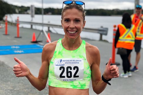 Kate Bazeley, shown in this file photo, was the 16th-fastest female in Sunday's Chicago Marathon, an event that had more than 30,000 finishers. —  Twitter/NLAA