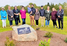 Members of the Clarke family near the Betty Clarke Memorial Garden, adjacent to the women's tee on No. 17 at Seaview Golf and Country Club in North Sydney. From left, Peggy Clarke, Angela Clarke, Meaghan Clarke, Allana Clarke, Stephen Clarke Jr. with daughter Thea, Shalane Clarke, Grahame Clarke, Kelly Mills, Renee Mills and Jerry Clarke. CONTRIBUTED • SEAVIEW GOLF AND COUNTRY CLUB