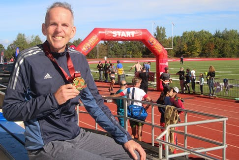 Running the Valley Harvest Marathon was a victory for Wade Were, after breaking his neck nine months ago in a cycling accident. He's done lots of exercises and gradually worked his way up to be ready to run a marathon.