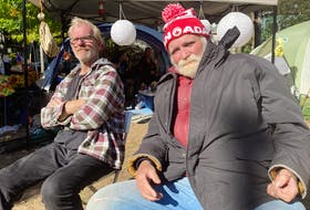 Ross Robicheau, 62, (left) and Wayne Moulton, 65, have been living in tents at the Meagher Park homeless encampment in Halifax for the past two months. ANDREW RANKIN