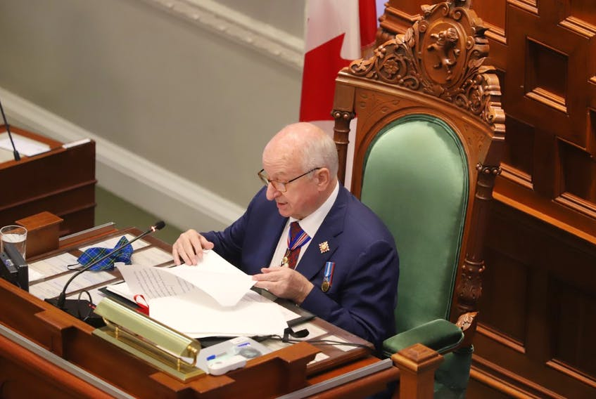 Nova Scotia's Lt.-Gov. Arthur LeBlanc reads the speech from the throne at Province House in Halifax on Tuesday, Oct. 12, 2021.