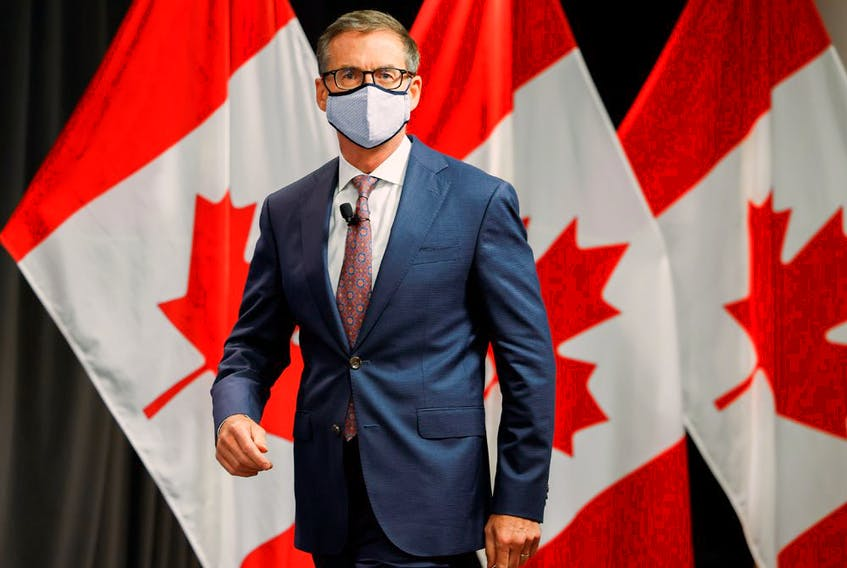 Bank of Canada Governor Tiff Macklem arrives at an event at the Bank of Canada in Ottawa on Oct. 7, 2021.