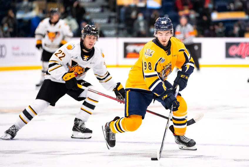 Edmonton Oilers prospect Xavier Bourgault, right, and the Shawinigan Cataractes will be on the ice tonight against the Cape Breton Eagles at Centre 200 in Sydney. This game will be the first Maritime vs. Quebec regular season matchup in the Q since March 8, 2020 Contributed • Shawinigan Cataractes