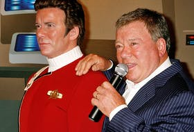 """Canadian actor William Shatner unveils a wax figure of himself as character Captain James T. Kirk from  the """"Star Trek"""" television series at Madame Tussauds Hollywood on November 4, 2009."""