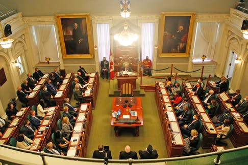 FOR NEWS STORY: A full legislature was on hand, for the throne speech given by Lt. Gov. Arthur LeBanc, in Halifax Tuesday October 12, 2021.  TIM KROCHAK PHOTO