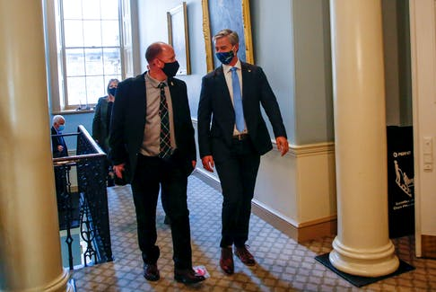 FOR NEWS STORY: Nova Scotia premier Tim Houston, right, arrives for the Throne Speech at Province House in Halifax Tuesday October 12, 2021.  TIM KROCHAK PHOTO
